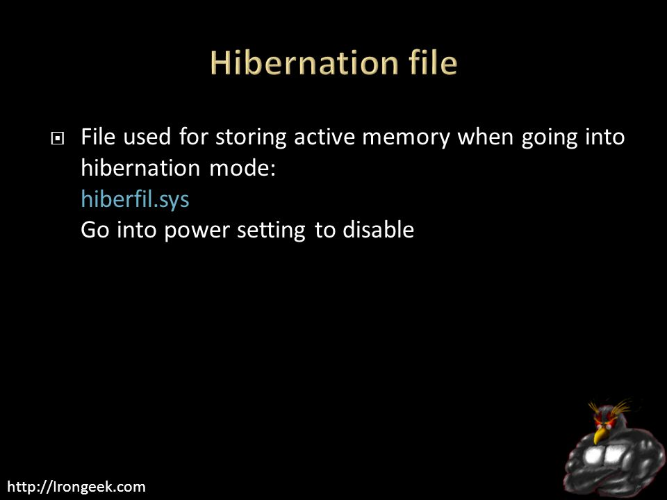 http://Irongeek.com  File used for storing active memory when going into hibernation mode: hiberfil.sys Go into power setting to disable