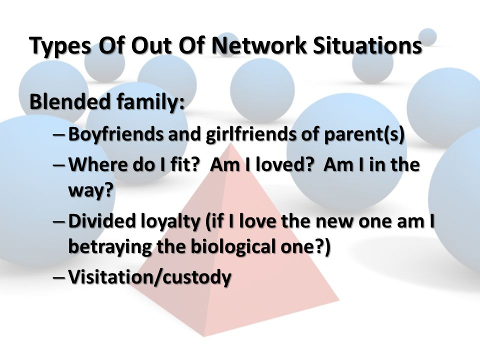 Types Of Out Of Network Situations Blended family: – Boyfriends and girlfriends of parent(s) – Where do I fit.