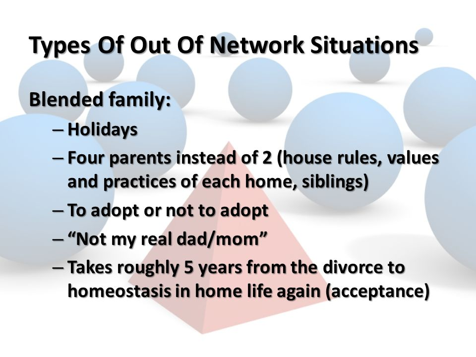Types Of Out Of Network Situations Blended family: – Holidays – Four parents instead of 2 (house rules, values and practices of each home, siblings) – To adopt or not to adopt – Not my real dad/mom – Takes roughly 5 years from the divorce to homeostasis in home life again (acceptance)