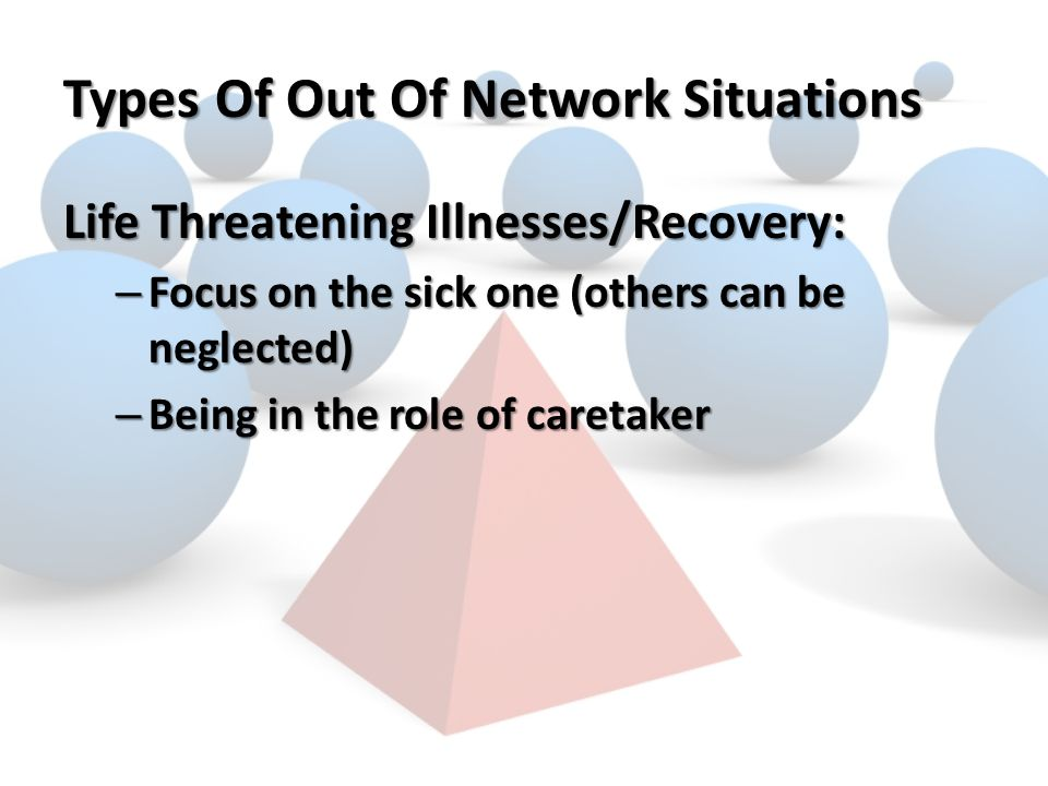Types Of Out Of Network Situations Life Threatening Illnesses/Recovery: – Focus on the sick one (others can be neglected) – Being in the role of caretaker