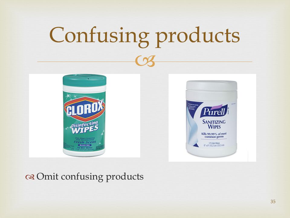   Omit confusing products 35 Confusing products