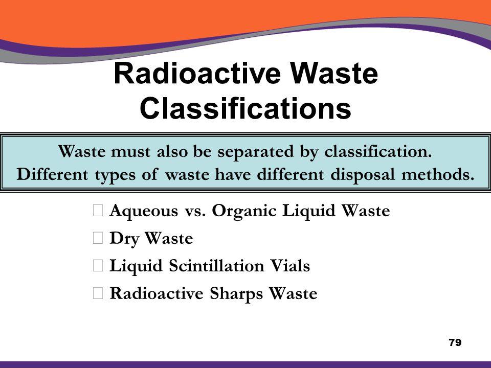 XAqueous vs. Organic Liquid Waste XDry Waste XLiquid Scintillation Vials XRadioactive Sharps Waste 79 Radioactive Waste Classifications Waste must als