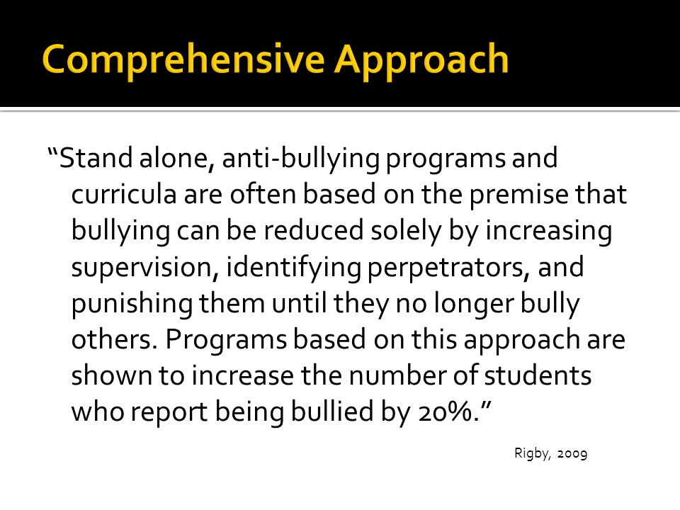  Anti-bullying and awareness lessons  Leadership Class  Weekly character building videos and discussions  Restorative conferences  Small group discussions  Aspiring Aggies  Adult mentors  Safe reporting methods