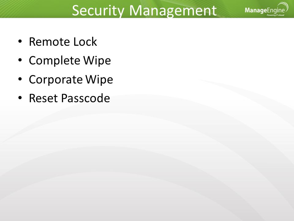 Security Management Remote Lock Complete Wipe Corporate Wipe Reset Passcode