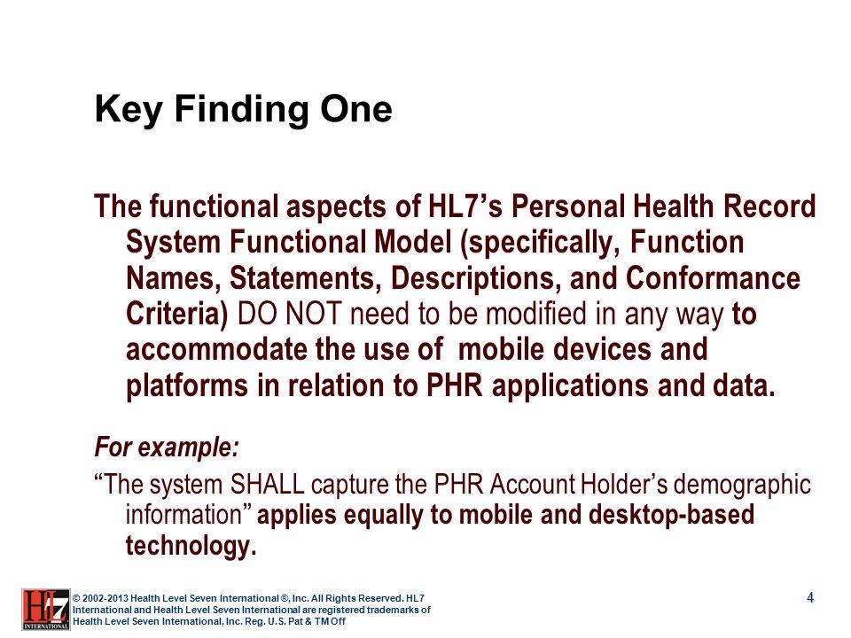 4 © 2002-2013 Health Level Seven International ®, Inc. All Rights Reserved. HL7 International and Health Level Seven International are registered trad