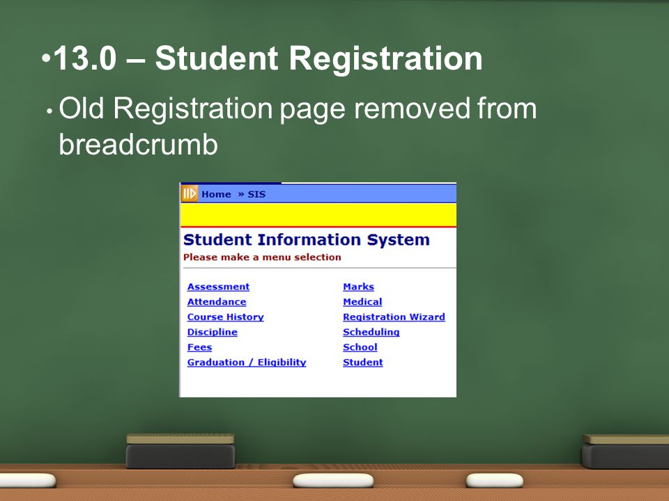 Old Registration page removed from breadcrumb 13.0 – Student Registration