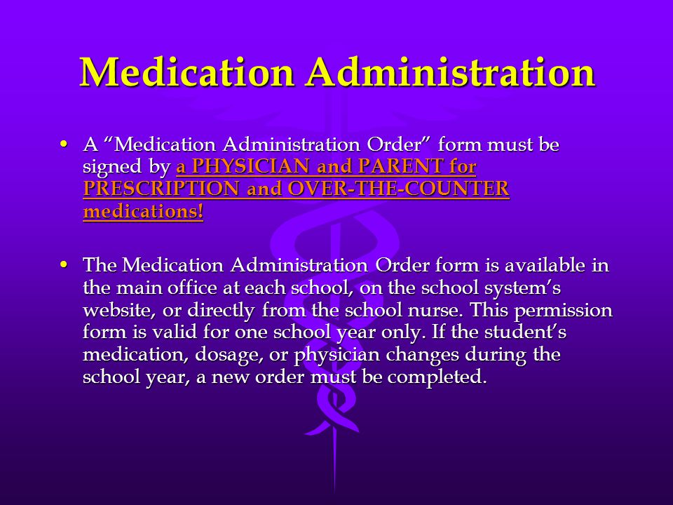 Medication Policy All medications will be dispensed by the principal or the principal's designee.