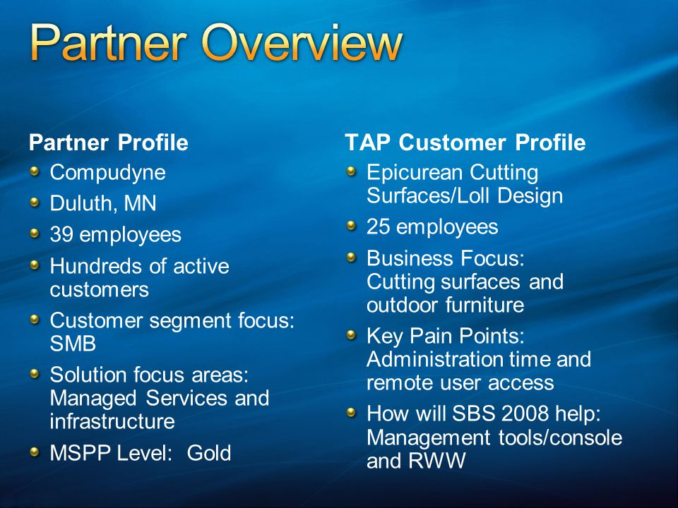 Partner Profile Compudyne Duluth, MN 39 employees Hundreds of active customers Customer segment focus: SMB Solution focus areas: Managed Services and
