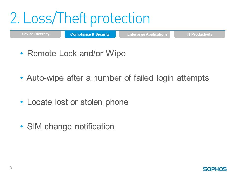 2. Loss/Theft protection Remote Lock and/or Wipe Auto-wipe after a number of failed login attempts Locate lost or stolen phone SIM change notification