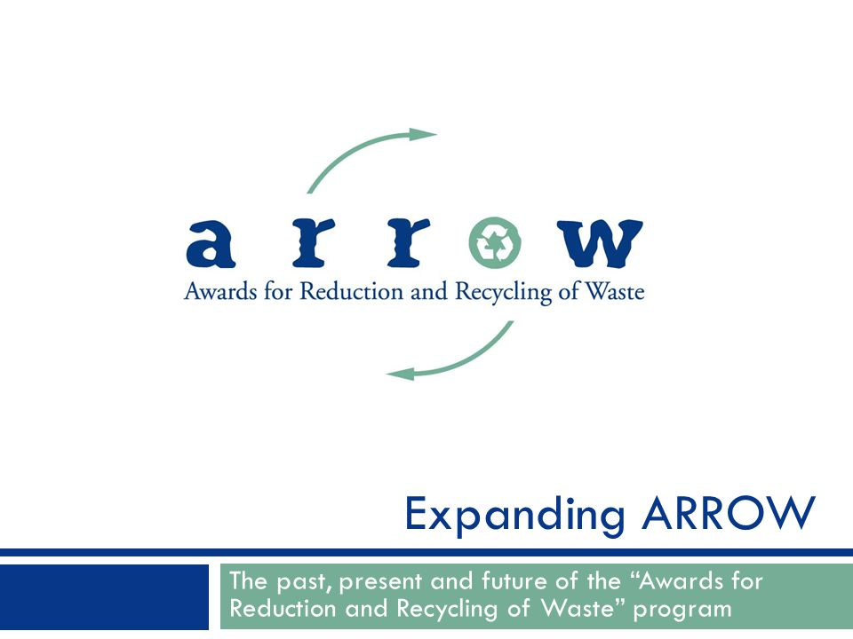 The past, present and future of the Awards for Reduction and Recycling of Waste program Expanding ARROW