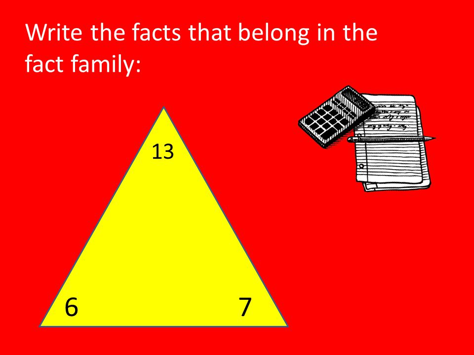 Write the facts that belong in the fact family: 13 67
