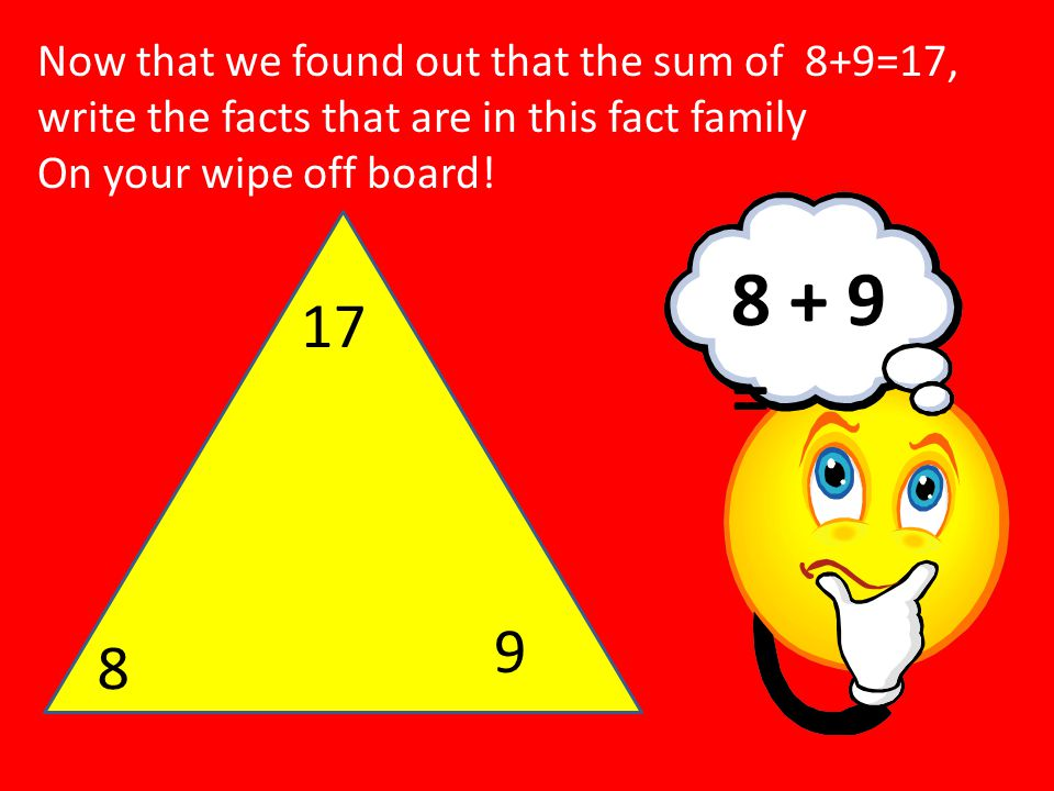 17 8 9 Now that we found out that the sum of 8+9=17, write the facts that are in this fact family On your wipe off board! 8 + 9 =