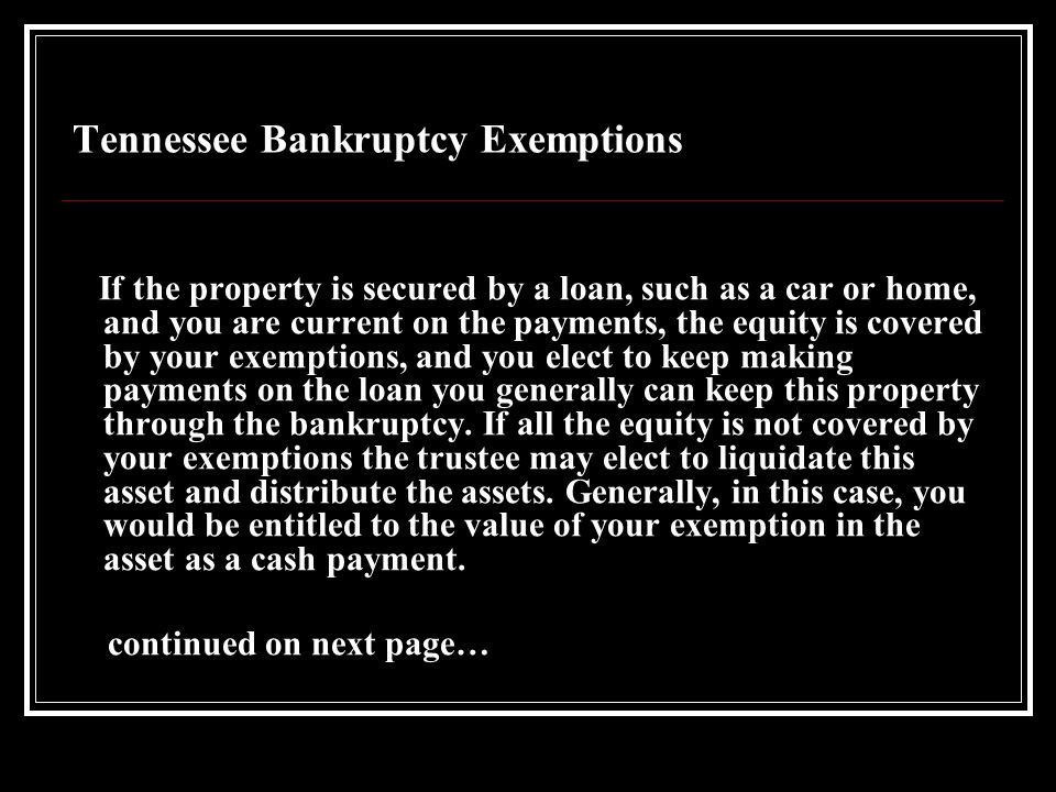 Tennessee Bankruptcy Exemptions An exemption limit applies to any equity you have in the property.