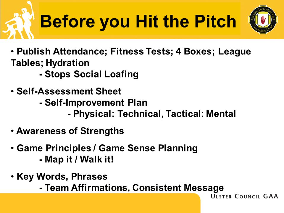 Before you Hit the Pitch Publish Attendance; Fitness Tests; 4 Boxes; League Tables; Hydration - Stops Social Loafing Self-Assessment Sheet - Self-Improvement Plan - Physical: Technical, Tactical: Mental Awareness of Strengths Game Principles / Game Sense Planning - Map it / Walk it.