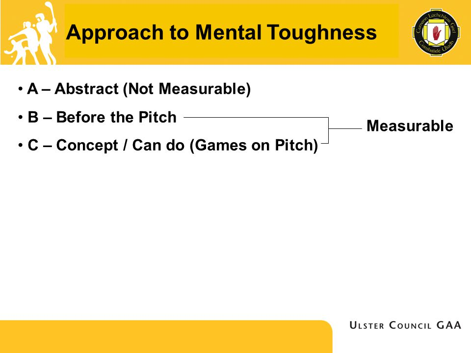 Approach to Mental Toughness A – Abstract (Not Measurable) B – Before the Pitch C – Concept / Can do (Games on Pitch) Measurable