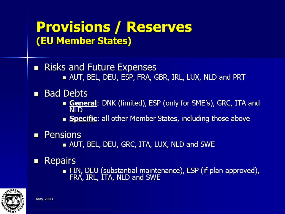 May 2003 Provisions / Reserves (EU Member States) Risks and Future Expenses Risks and Future Expenses AUT, BEL, DEU, ESP, FRA, GBR, IRL, LUX, NLD and PRT AUT, BEL, DEU, ESP, FRA, GBR, IRL, LUX, NLD and PRT Bad Debts Bad Debts General: DNK (limited), ESP (only for SME's), GRC, ITA and NLD General: DNK (limited), ESP (only for SME's), GRC, ITA and NLD Specific: all other Member States, including those above Specific: all other Member States, including those above Pensions Pensions AUT, BEL, DEU, GRC, ITA, LUX, NLD and SWE AUT, BEL, DEU, GRC, ITA, LUX, NLD and SWE Repairs Repairs FIN, DEU (substantial maintenance), ESP (if plan approved), FRA, IRL, ITA, NLD and SWE FIN, DEU (substantial maintenance), ESP (if plan approved), FRA, IRL, ITA, NLD and SWE