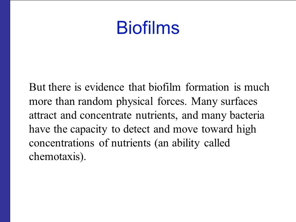 Biofilms But there is evidence that biofilm formation is much more than random physical forces.