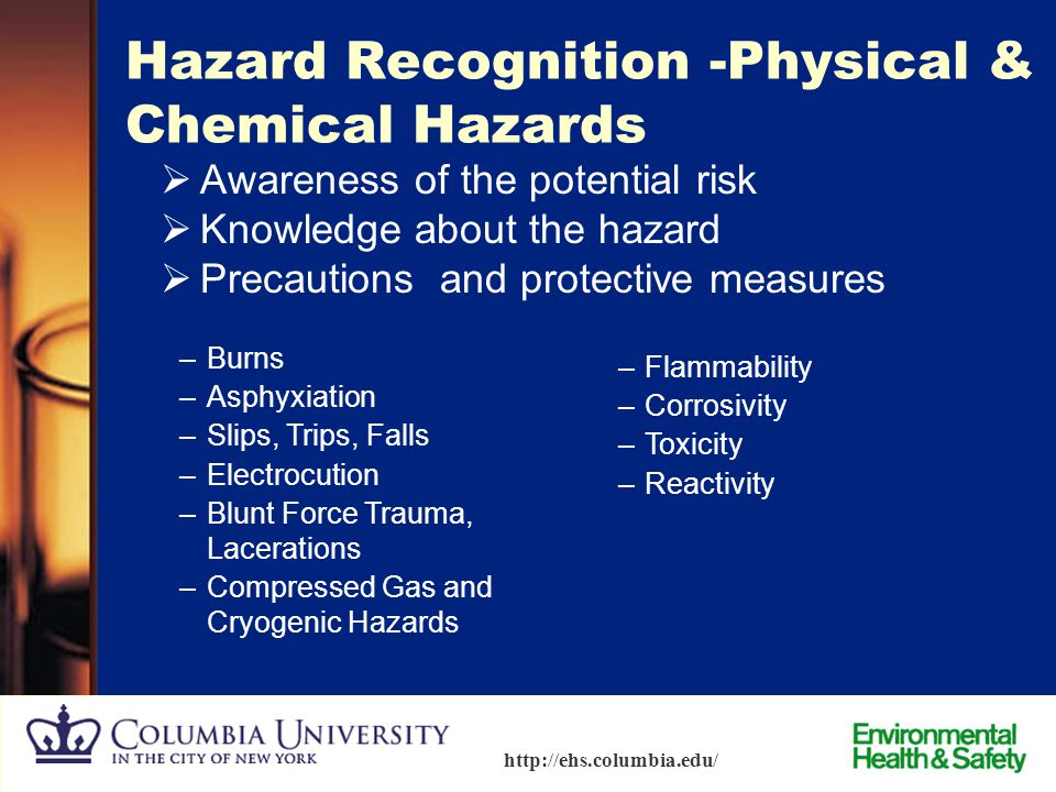 13 http://ehs.columbia.edu/ Material Safety Data Sheets (MSDS)  Shipped with all chemicals –All safety information exposure limits precautions for sa