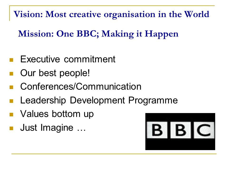 Vision: Most creative organisation in the World Executive commitment Our best people! Conferences/Communication Leadership Development Programme Value