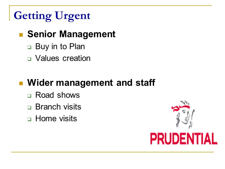 Getting Urgent Senior Management  Buy in to Plan  Values creation Wider management and staff  Road shows  Branch visits  Home visits