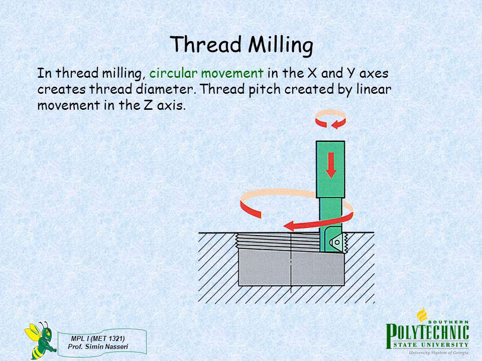 MPL I (MET 1321) Prof. Simin Nasseri Thread Milling In thread milling, circular movement in the X and Y axes creates thread diameter. Thread pitch cre