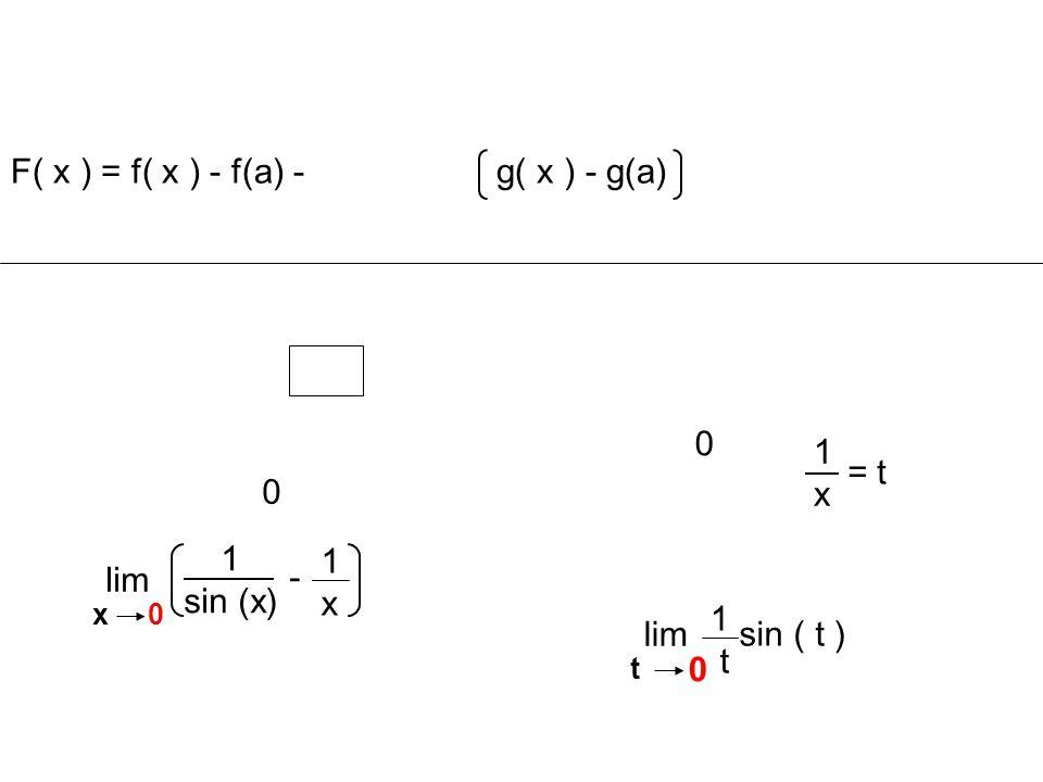 1x1x = t 0 lim t 0 sin ( t ) 1 t lim x 0 1x1x 1 sin (x) - F( x ) = f( x ) - f(a) - g( x ) - g(a) 0
