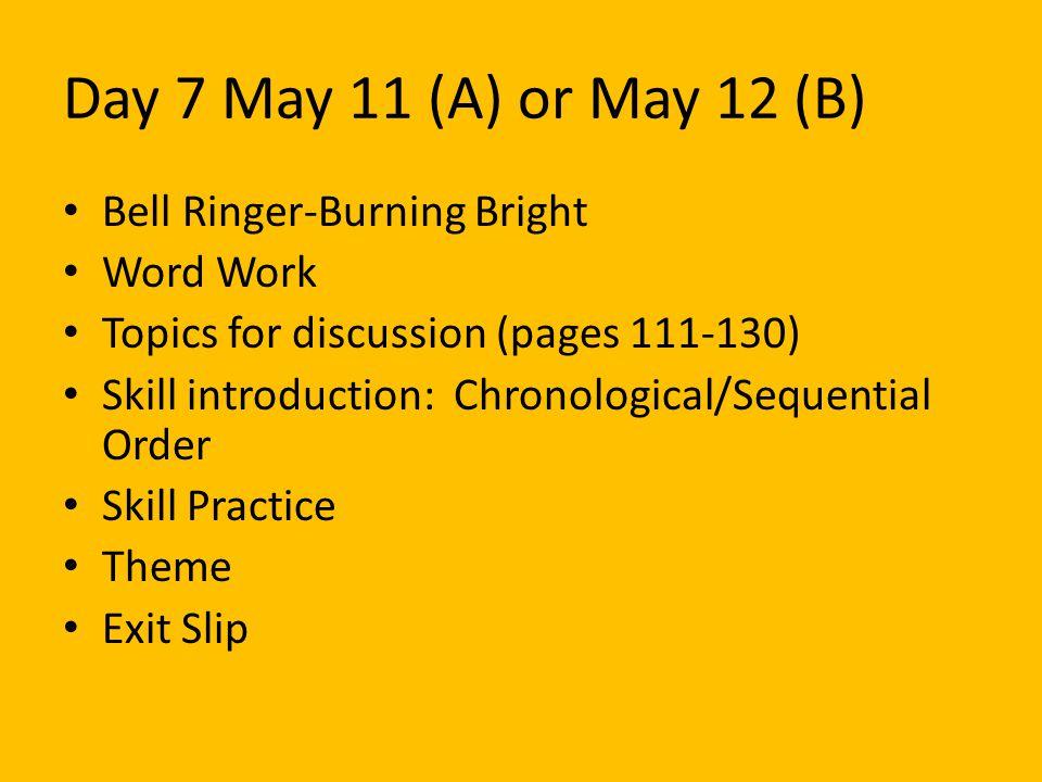 Bell Ringer #2: May 11(A) or May 12 (B) Tiger.Tiger.