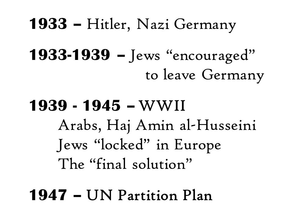 1933 – Hitler, Nazi Germany 1933-1939 – Jews encouraged to leave Germany 1939 - 1945 – WWII Arabs, Haj Amin al-Husseini Jews locked in Europe The final solution 1947 – UN Partition Plan
