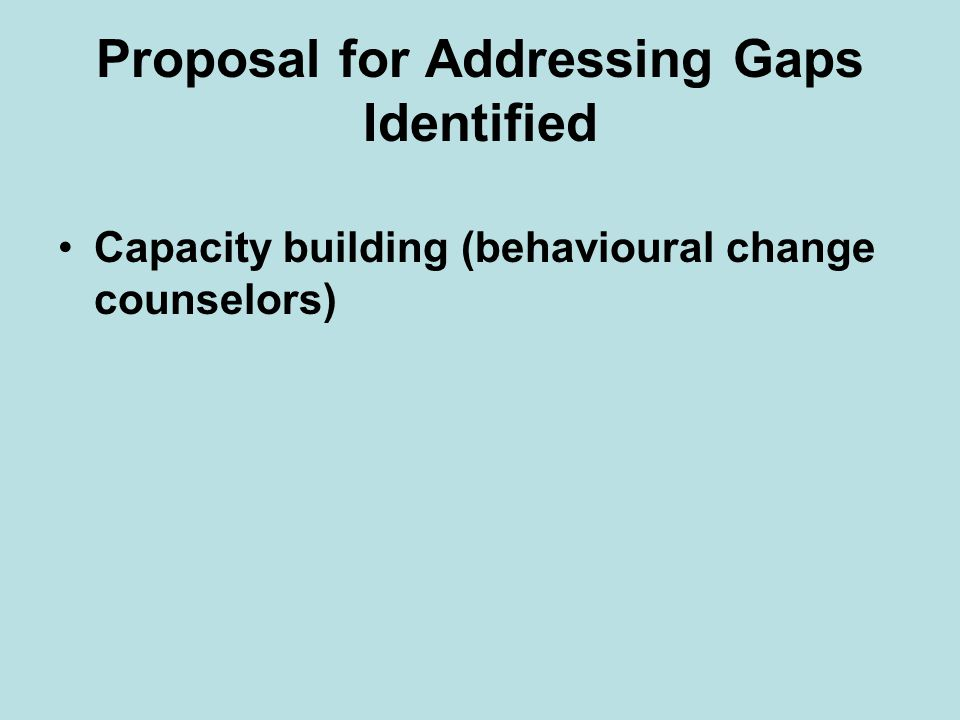 Proposal for Addressing Gaps Identified Capacity building (behavioural change counselors)