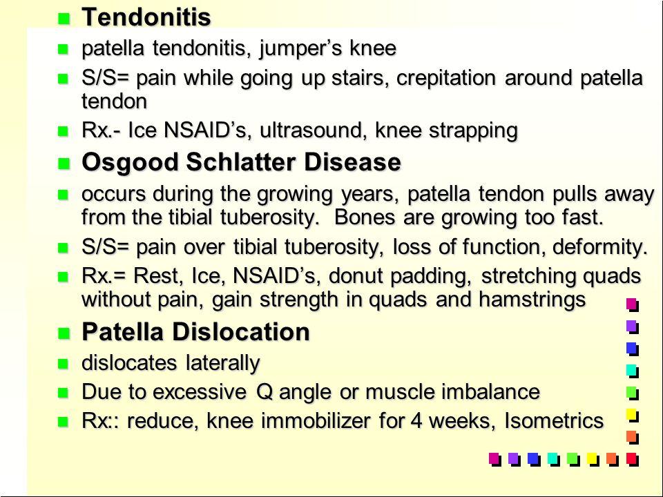 Injuries to the knee n n Sprains: n n 1st degree- pain, stable lig. Joint stiffness n n 2nd degree- pain, slight joint laxity, hemarthrosis, loss of f