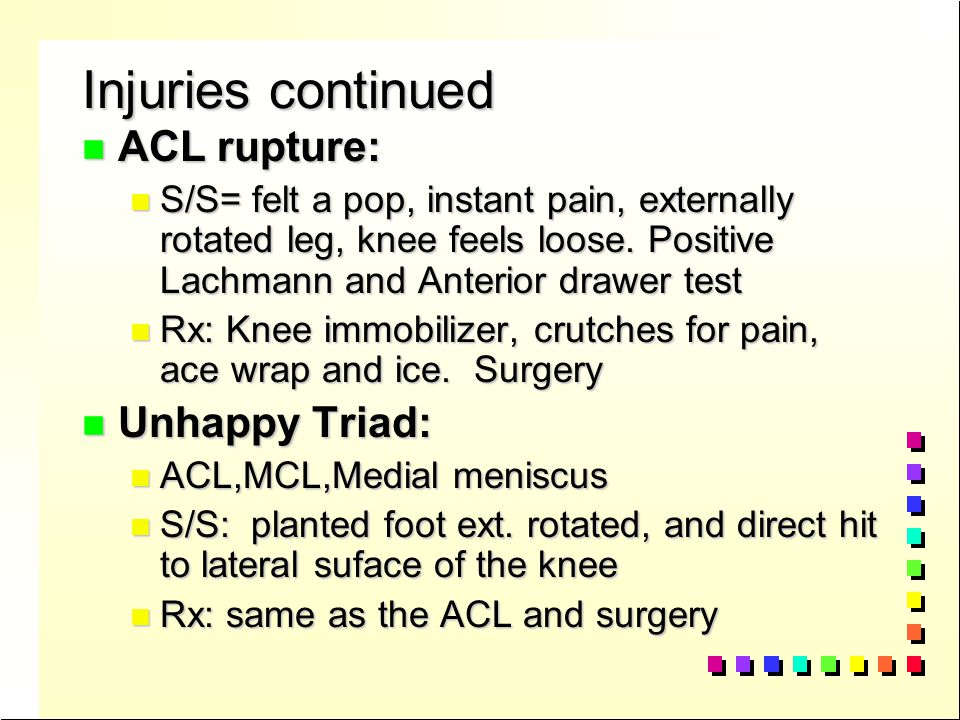 n Tendonitis n patella tendonitis, jumper's knee n S/S= pain while going up stairs, crepitation around patella tendon n Rx.- Ice NSAID's, ultrasound, knee strapping n Osgood Schlatter Disease n occurs during the growing years, patella tendon pulls away from the tibial tuberosity.