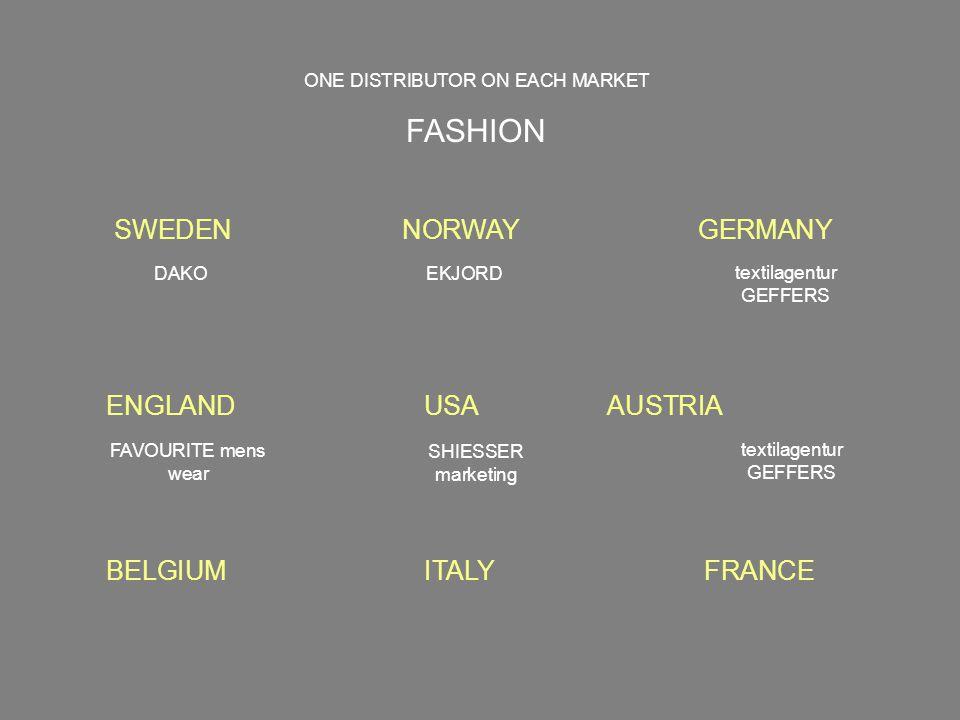 SWEDENNORWAY GERMANY ENGLAND USA AUSTRIA ONE DISTRIBUTOR ON EACH MARKET FASHION DAKOEKJORD FAVOURITE mens wear SHIESSER marketing BELGIUM ITALY FRANCE textilagentur GEFFERS textilagentur GEFFERS