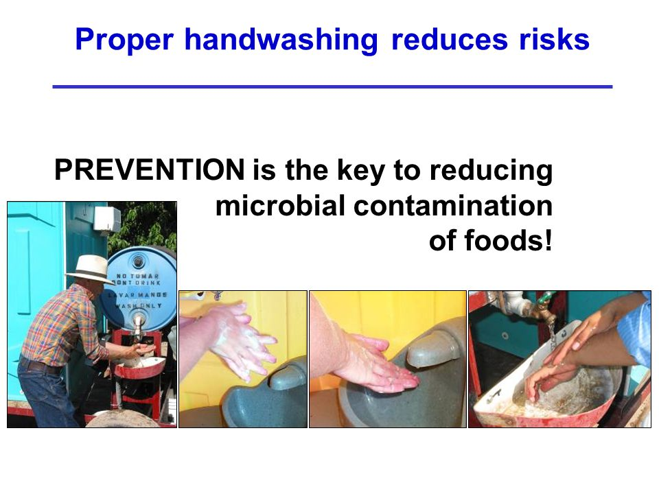 Proper handwashing reduces risks PREVENTION is the key to reducing microbial contamination of foods!