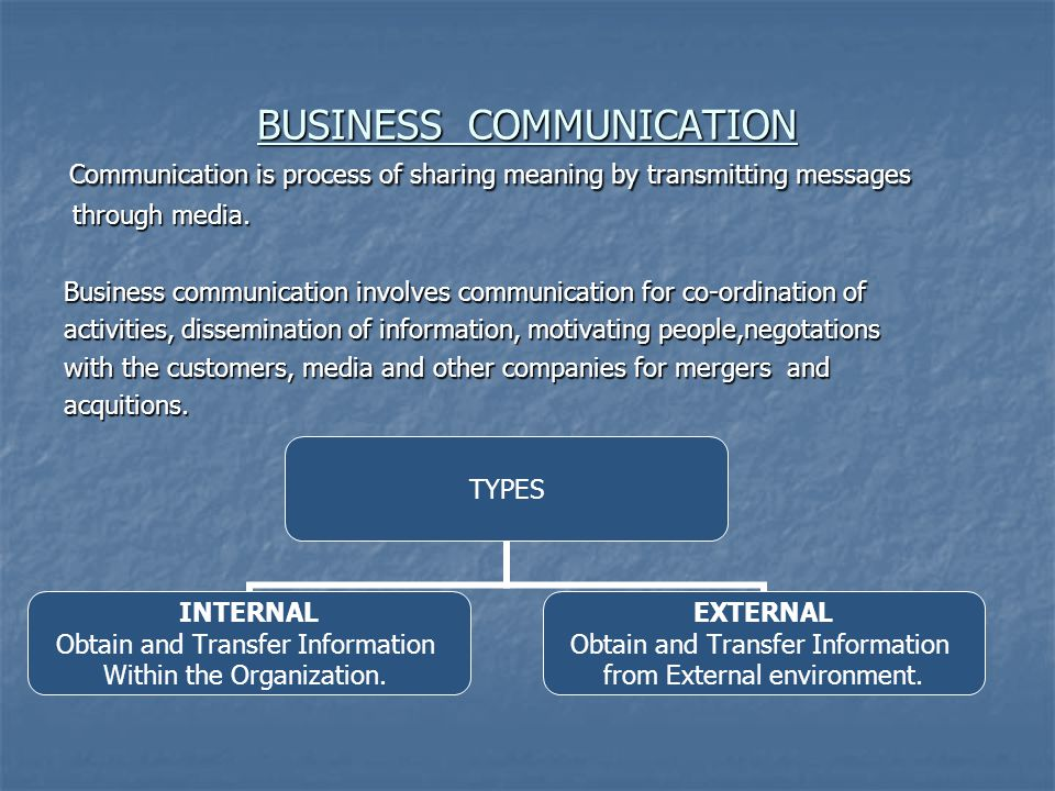 BUSINESS COMMUNICATION Communication is process of sharing meaning by transmitting messages Communication is process of sharing meaning by transmitting messages through media.
