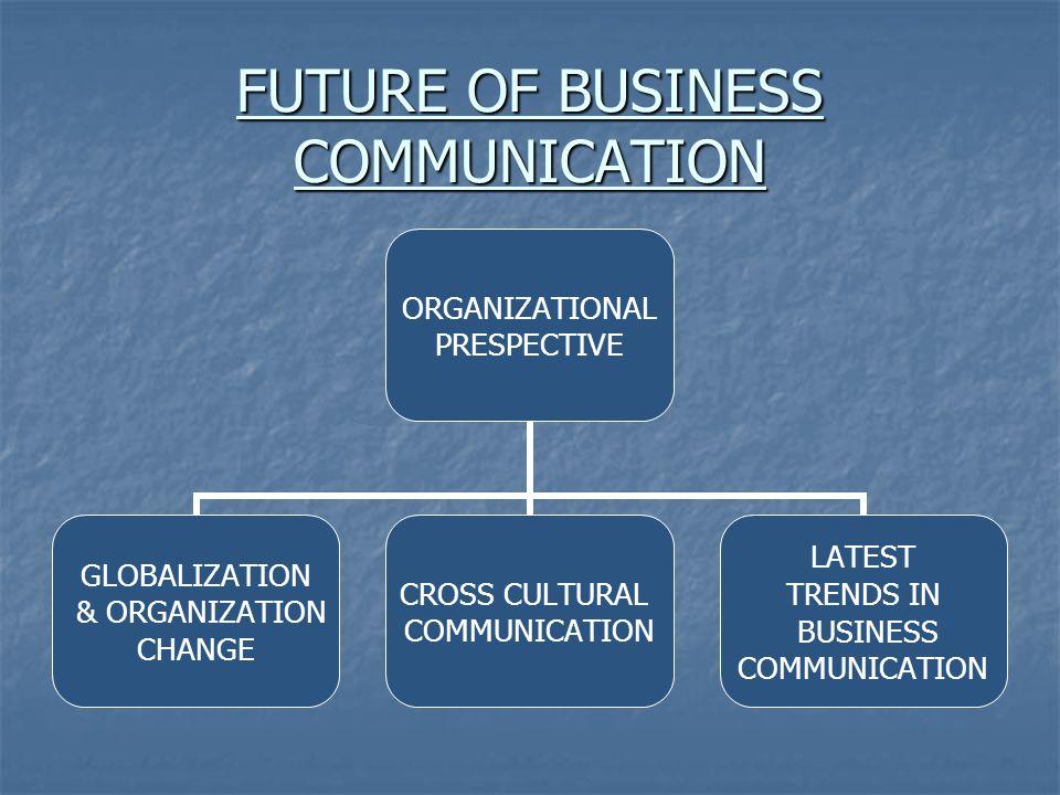 FUTURE OF BUSINESS COMMUNICATION ORGANIZATIONAL PRESPECTIVE GLOBALIZATION & ORGANIZATION CHANGE CROSS CULTURAL COMMUNICATION LATEST TRENDS IN BUSINESS