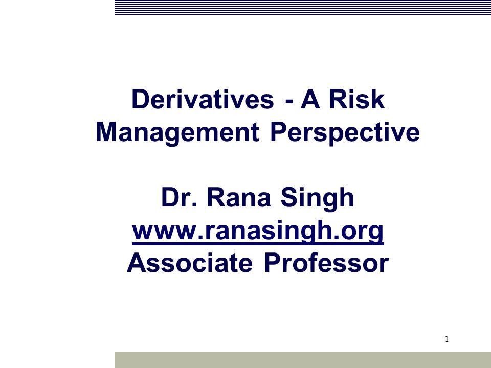 1 Derivatives - A Risk Management Perspective Dr.