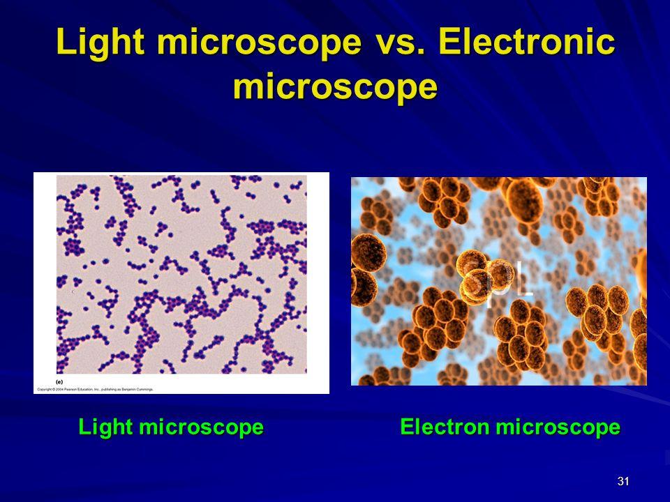 30 Light microscope vs. Electronic microscope Electron microscope Light microscope