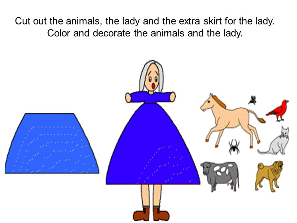 Print out the animals template. Cut out the animals and the extra skirt.
