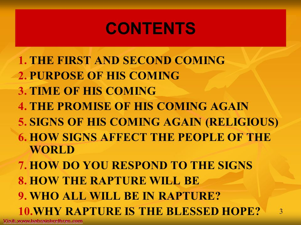 4 CONTENTS 11.WHY THE DIFFERENT VOICES. 12. RAPTURE WILL BE SEPARATING ALSO.