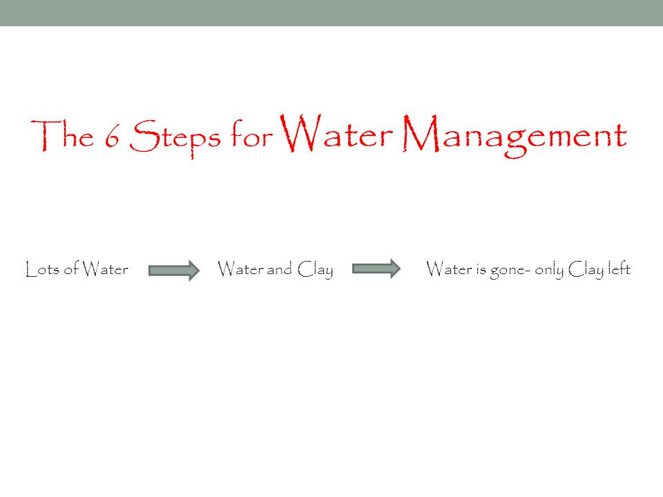 The 6 Steps for Water Management Lots of Water Water and Clay Water is gone- only Clay left