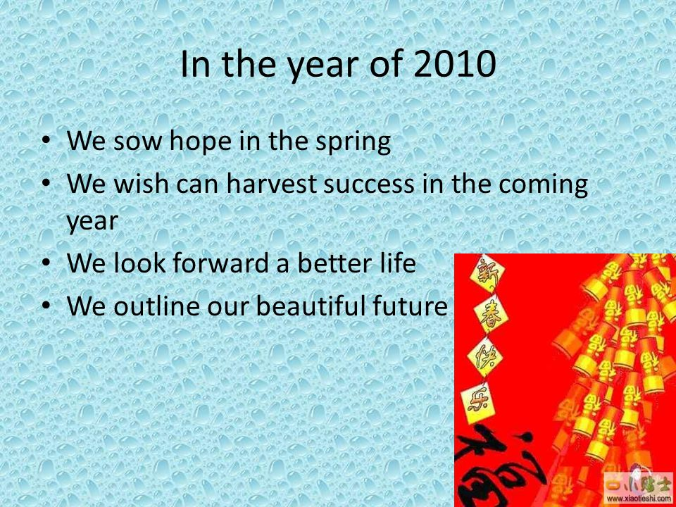 In the year of 2010 We sow hope in the spring We wish can harvest success in the coming year We look forward a better life We outline our beautiful fu