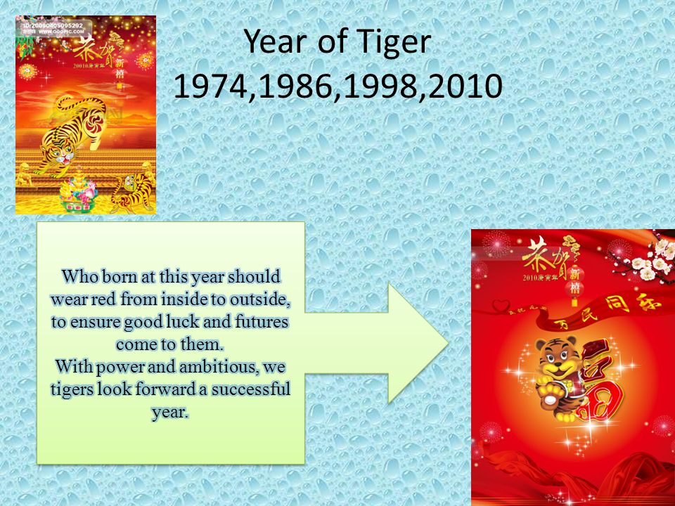 Year of Tiger 1974,1986,1998,2010
