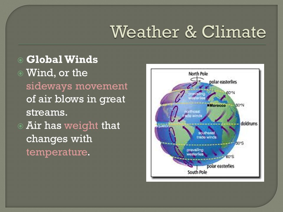  Global Winds  Wind, or the sideways movement of air blows in great streams.