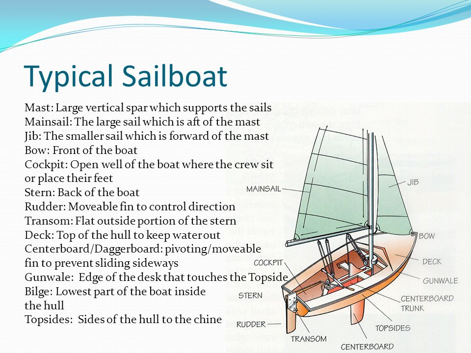 Typical Sailboat Mast: Large vertical spar which supports the sails Mainsail: The large sail which is aft of the mast Jib: The smaller sail which is forward of the mast Bow: Front of the boat Cockpit: Open well of the boat where the crew sit or place their feet Stern: Back of the boat Rudder: Moveable fin to control direction Transom: Flat outside portion of the stern Deck: Top of the hull to keep water out Centerboard/Daggerboard: pivoting/moveable fin to prevent sliding sideways Gunwale: Edge of the desk that touches the Topside Bilge: Lowest part of the boat inside the hull Topsides: Sides of the hull to the chine