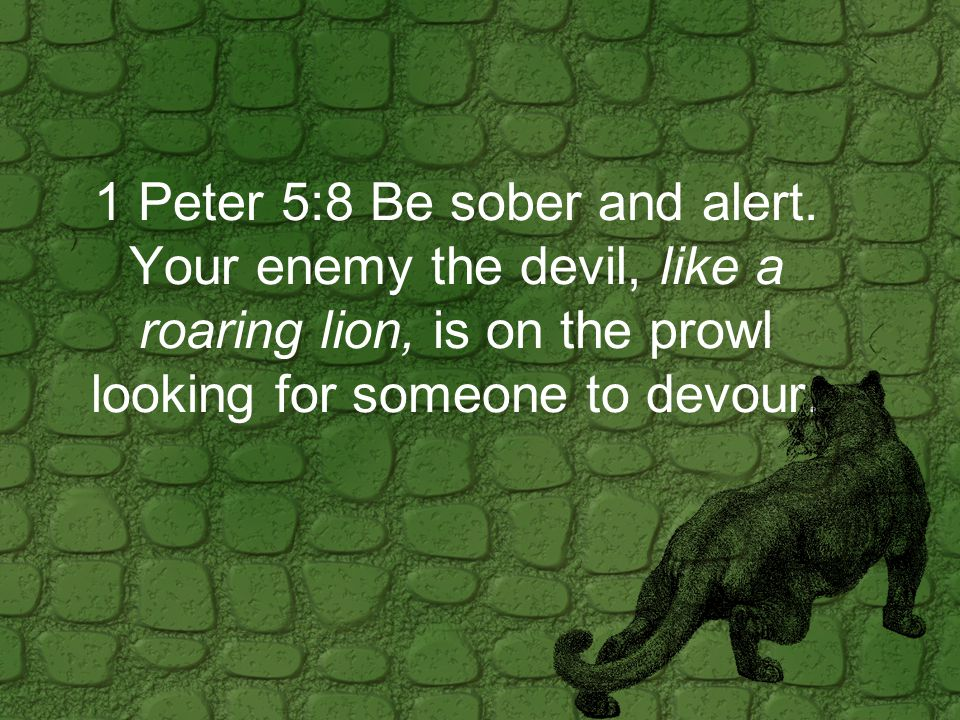 1 Peter 5:8 Be sober and alert.