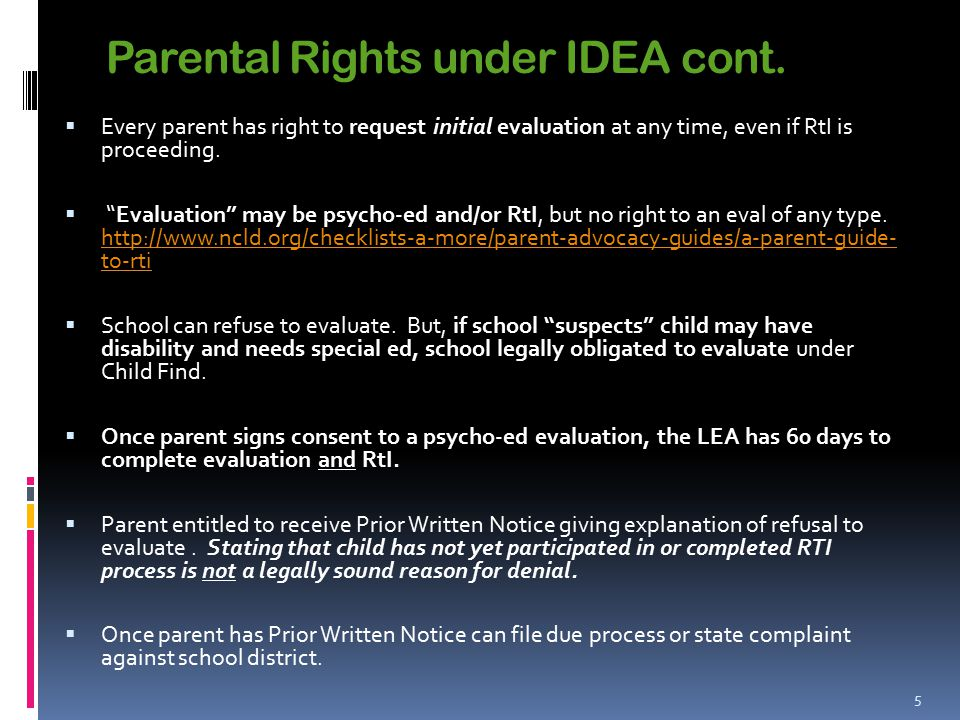 Parental Rights under IDEA cont.