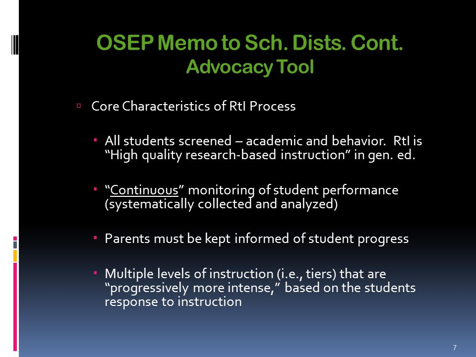 OSEP Memo to Sch. Dists. Cont.