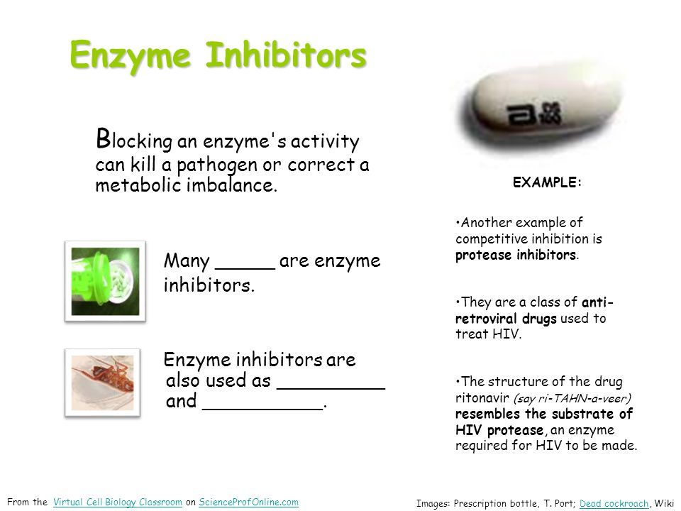 Enzyme Inhibitors B locking an enzyme's activity can kill a pathogen or correct a metabolic imbalance. Many _____ are enzyme inhibitors. Enzyme inhibi