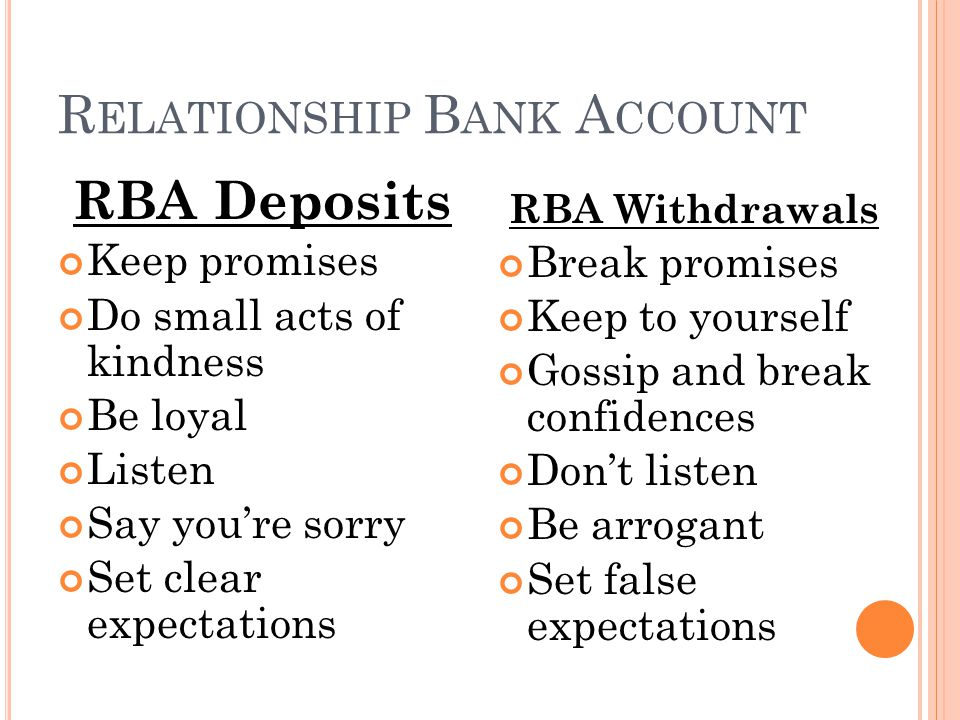 RBA Deposits Keep promises Do small acts of kindness Be loyal Listen Say you're sorry Set clear expectations RBA Withdrawals Break promises Keep to yourself Gossip and break confidences Don't listen Be arrogant Set false expectations R ELATIONSHIP B ANK A CCOUNT