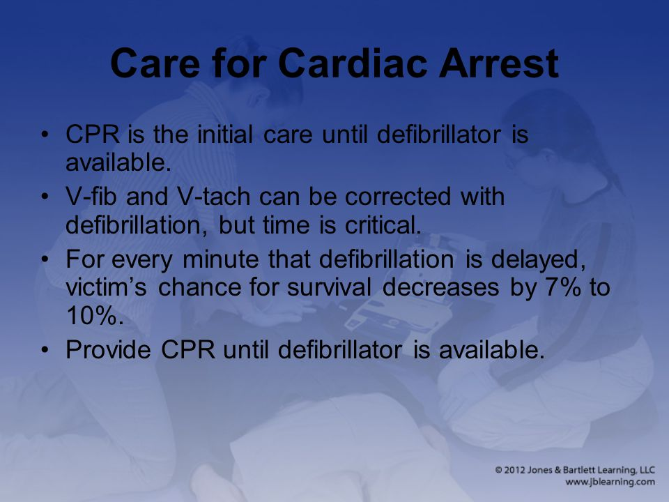 Care for Cardiac Arrest CPR is the initial care until defibrillator is available.
